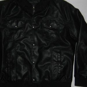 Sean John Jackets & Coats - Sean John Men's Faux-Leather Hooded Black Jacket